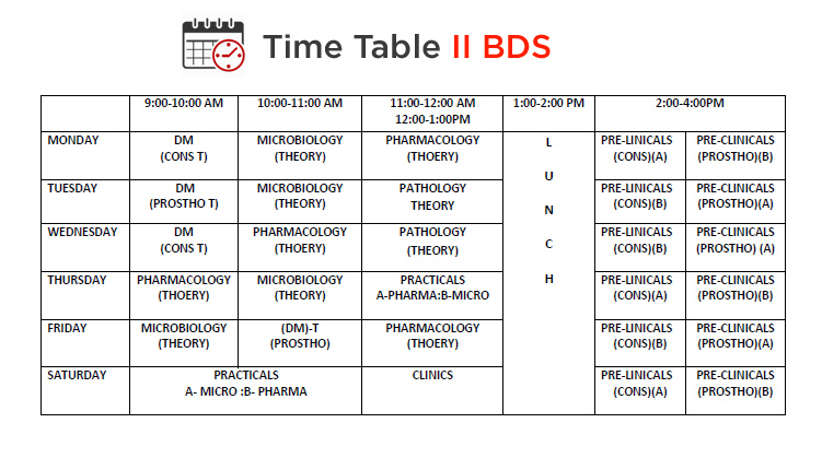 college time table  ac